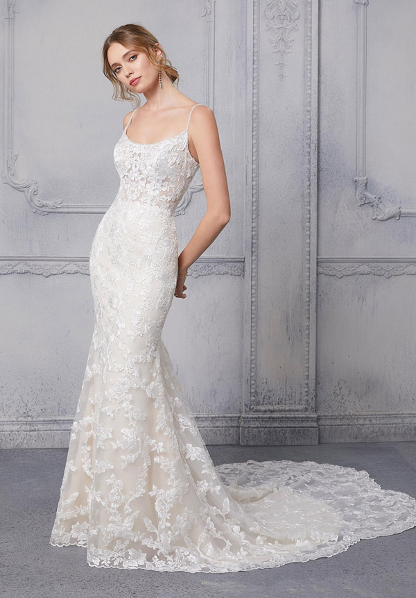 One of our 2021 collection of wedding gowns in stock at Roberta's Bridal Stoke-on-Trent