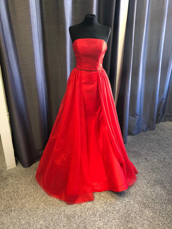 Morilee Satin Fitted Prom Dress 45029 Red