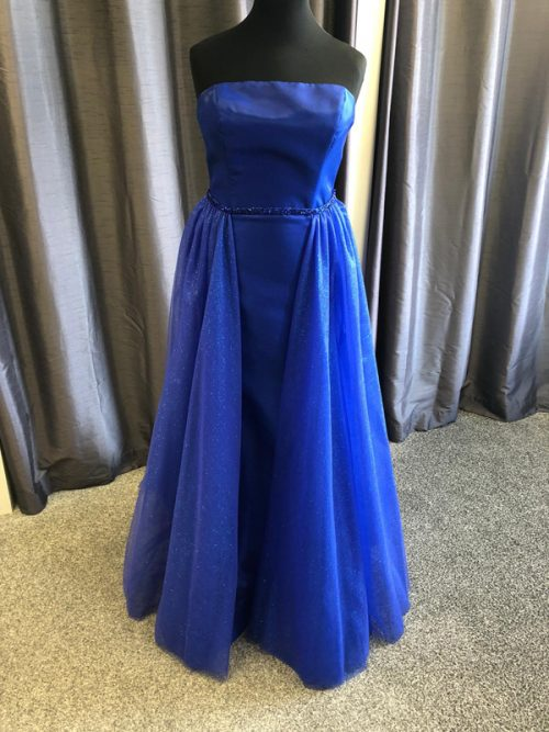 Morilee Satin Fitted Prom Dress 45029 Blue