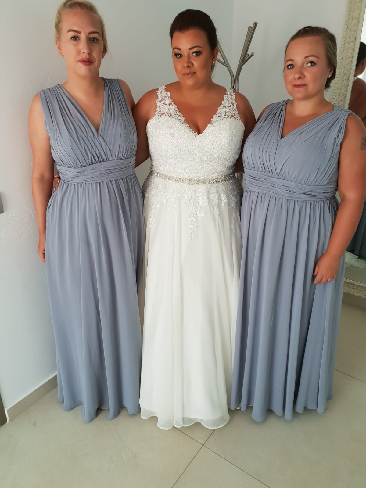 Leanne Holland in Santorini with her bridesmaids