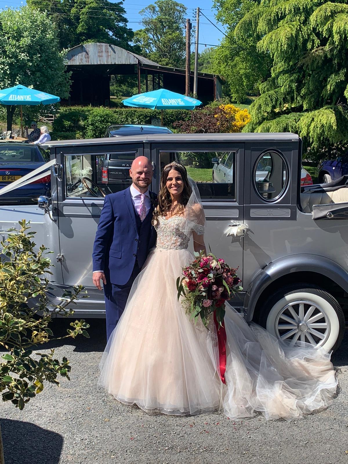 Bride Rachael Taylor with her groom Dan