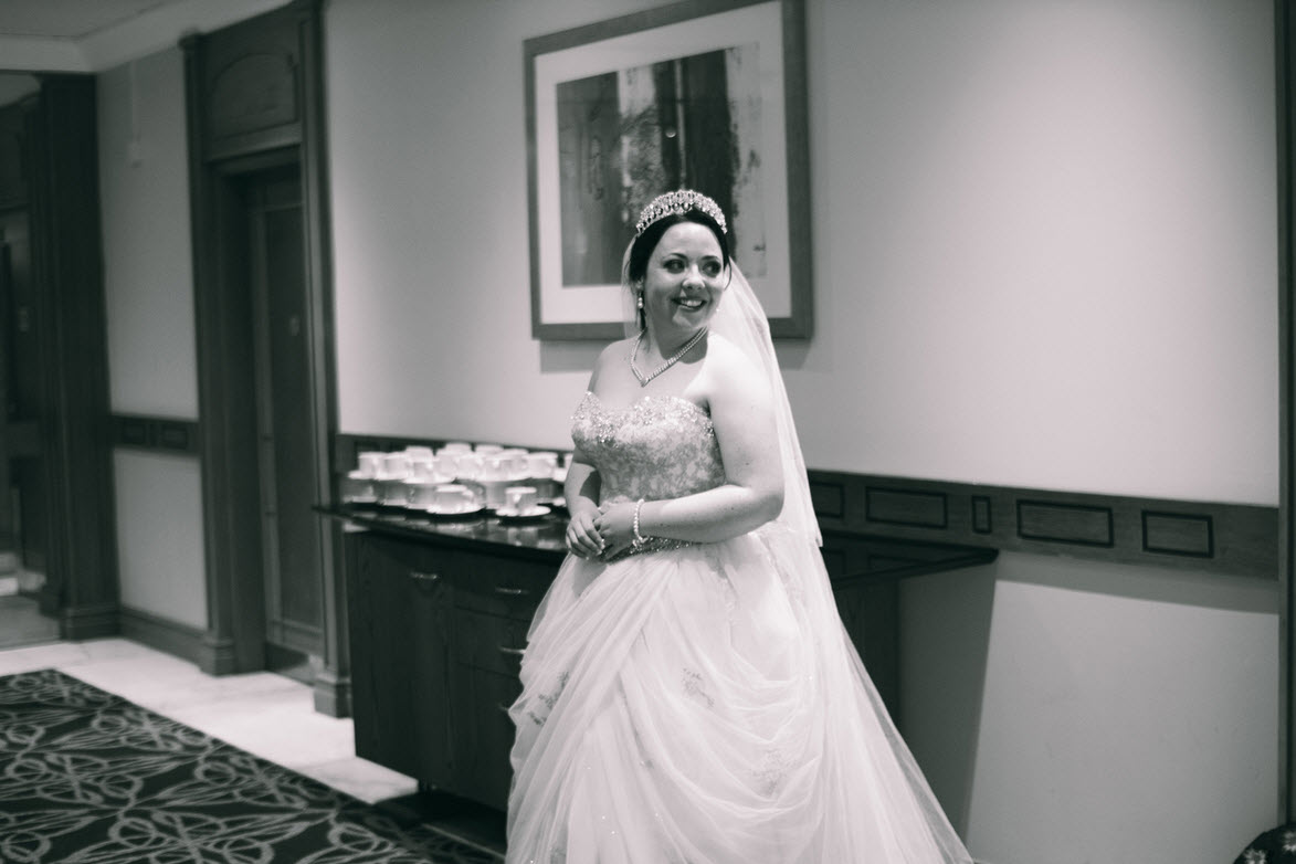 Bride Stacey in her Alfred Angelo Disney Belle 254 wedding dress