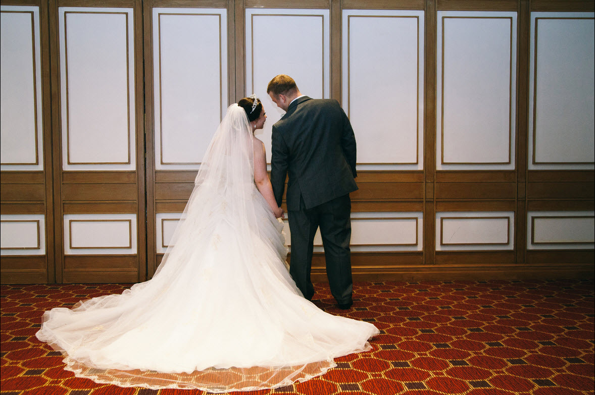 Bride Stacey in her Alfred Angelo Disney Belle 254 wedding dress