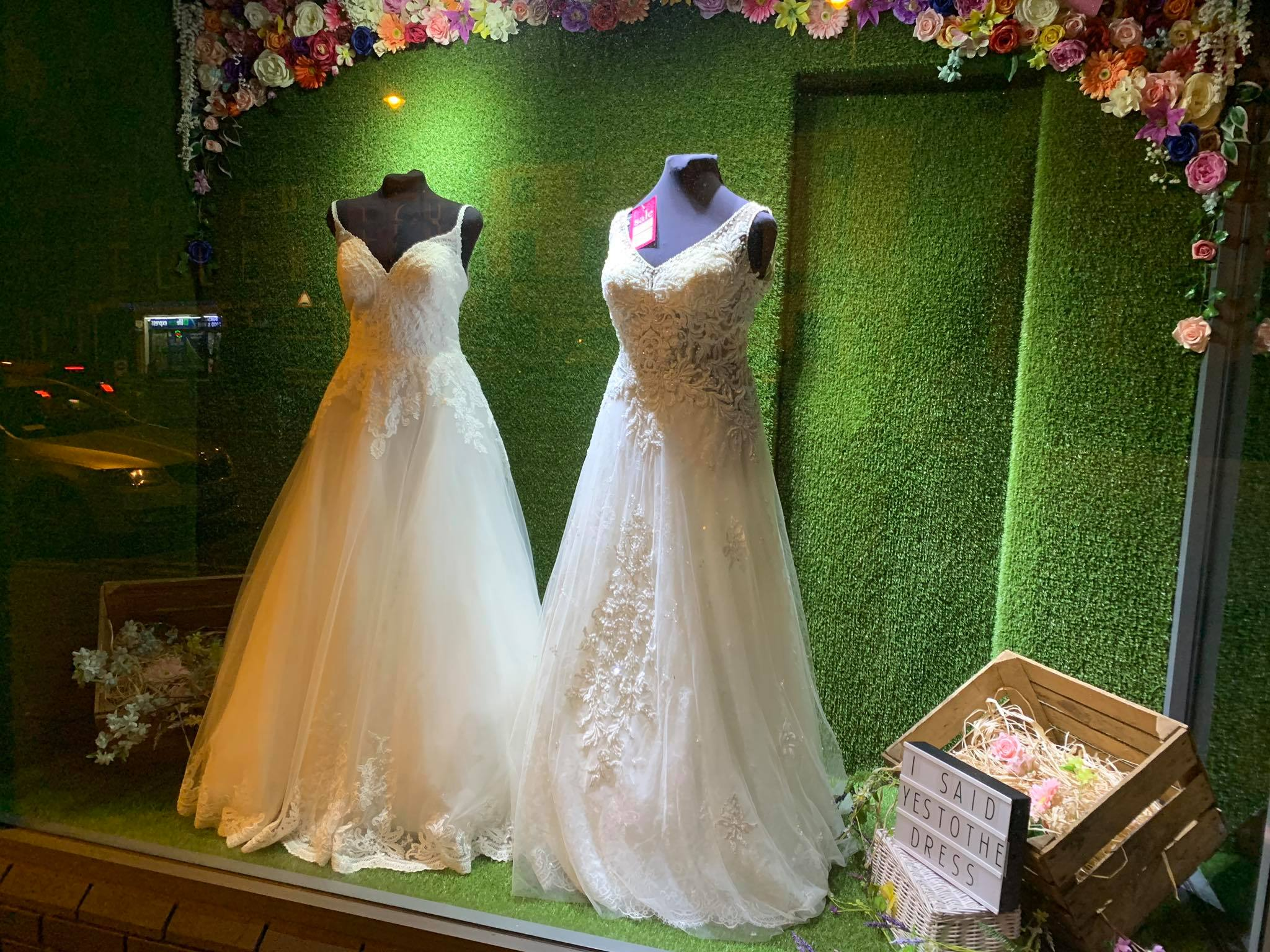 Wedding dress sale window display
